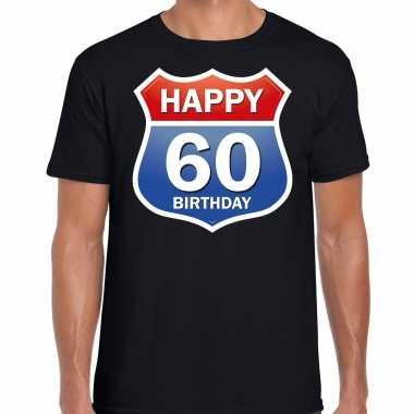 60e verjaardag happy birthday shirt / kleding route bord 60 jaar zwart voor heren kopen