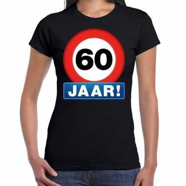 60e verjaardag stopbord shirt / kleding 60 jaar zwart voor dames kopen