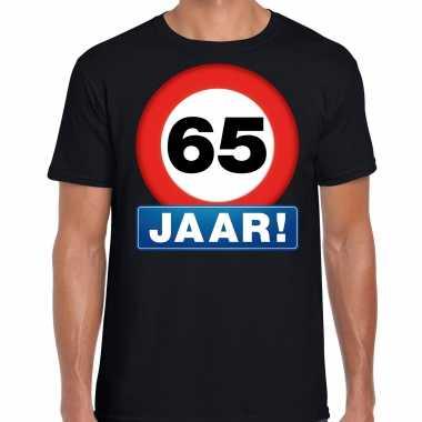 65e verjaardag stopbord shirt / kleding 65 jaar zwart voor heren kopen