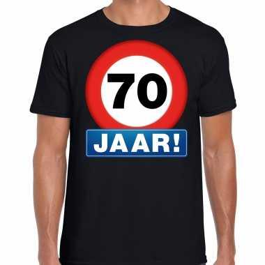 70e verjaardag stopbord shirt / kleding 70 jaar zwart voor heren kopen