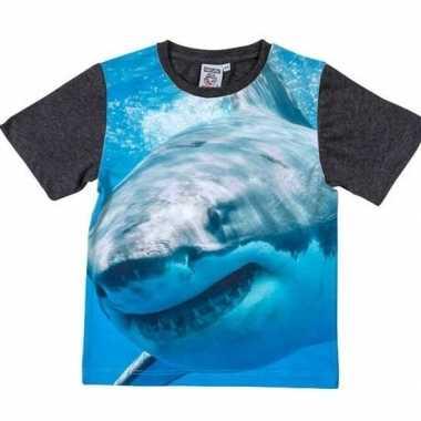 All-over print t-shirt met haai voor kinderen kopen