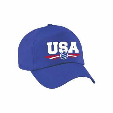 Amerika / usa landen pet / baseball cap blauw voor volwassenen kopen