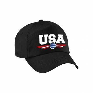 Amerika / usa landen pet / baseball cap zwart voor kinderen kopen