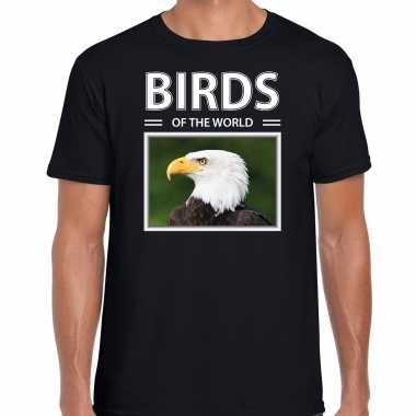 Amerikaanse zeearend foto t-shirt zwart voor heren - birds of the world cadeau shirt amerikaanse zeearenden liefhebber kopen