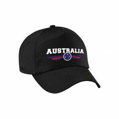 Australie / australia landen pet / baseball cap zwart voor kinderen kopen