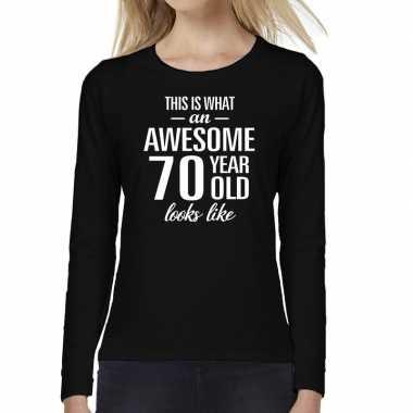 Awesome 70 year / verjaardag cadeau shirt long sleeves zwart voor dames kopen