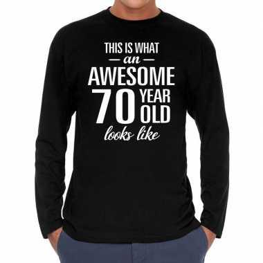 Awesome 70 year / verjaardag cadeau t-shirt zwart voor heren kopen
