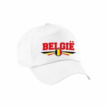 Belgie landen pet wit / baseball cap voor volwassenen kopen