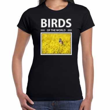 Blauwborst vogel foto t-shirt zwart voor dames - birds of the world cadeau shirt blauwborst vogels liefhebber kopen