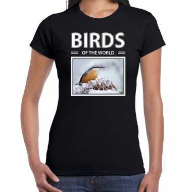Boomklever foto t-shirt zwart voor dames - birds of the world cadeau shirt boomklever vogels liefhebber kopen