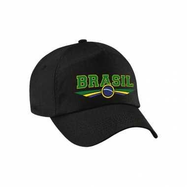 Brazilie / brasil landen pet / baseball cap zwart voor volwassenen kopen