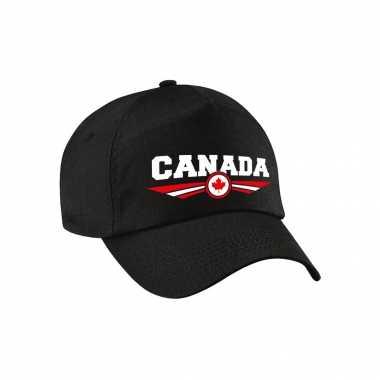 Canada landen pet zwart / baseball cap voor volwassenen kopen