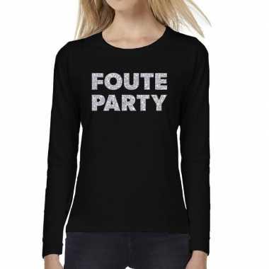 Dames long sleeve t-shirt met foute party zilver glitter bedrukking z