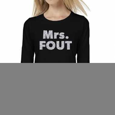 Dames long sleeve t-shirt met mrs. fout zilver glitter bedrukking zwa