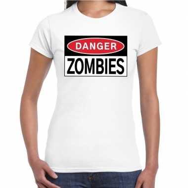 Danger zombies halloween wit voor dames kopen