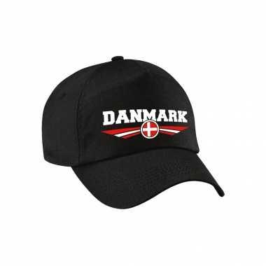 Denemarken / danmark landen pet / baseball cap zwart voor volwassenen kopen