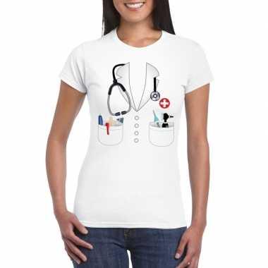 Dokters verkleedkleding t-shirt wit voor dames kopen