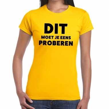 Evenementen tekst t-shirt geel met dit moet je eens proberen bedrukki