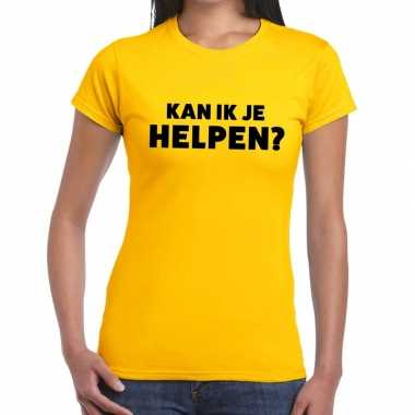 Evenementen tekst t-shirt geel met kan ik je helpen bedrukking voor d