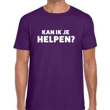 Evenementen tekst t-shirt paars met kan ik je helpen bedrukking voor