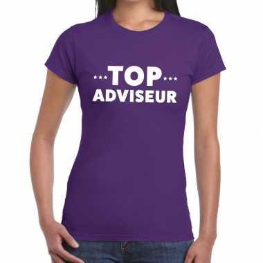 Evenementen tekst t-shirt paars met top adviseur bedrukking voor dame