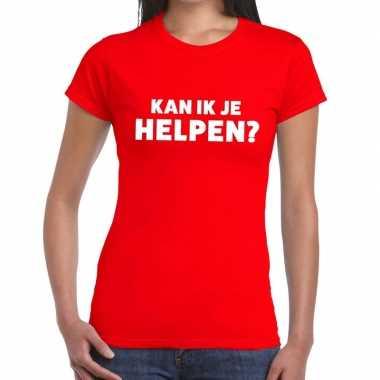Evenementen tekst t-shirt rood met kan ik je helpen bedrukking voor d