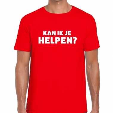 Evenementen tekst t-shirt rood met kan ik je helpen bedrukking voor h