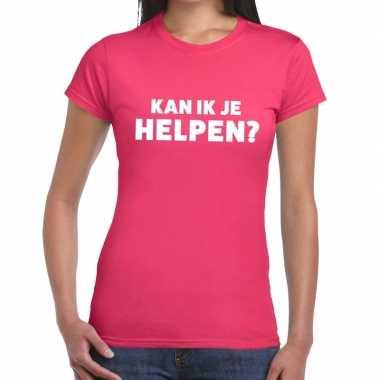 Evenementen tekst t-shirt roze met kan ik je helpen bedrukking voor d