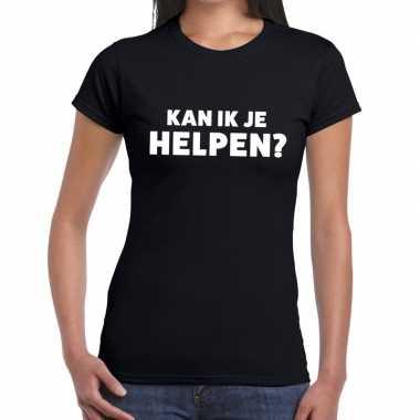 Evenementen tekst t-shirt zwart met kan ik je helpen bedrukking voor