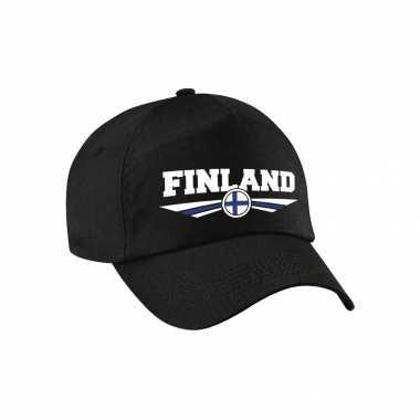 Finland landen pet / baseball cap zwart voor kinderen kopen