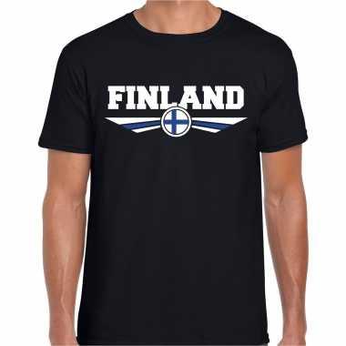 Finland landen shirt met finse vlag zwart voor heren kopen