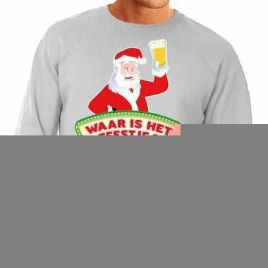 5a789856b6b Foute kerst sweater grijs dronken kerstman met bier heren kopen | T ...