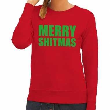Trui Dames Kopen.Foute Kerstborrel Trui Rood Merry Shitmas Dames Kopen T Shirts