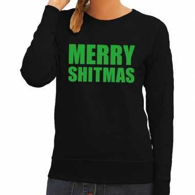 Trui Dames Kopen.Foute Kerstborrel Trui Zwart Merry Shitmas Dames Kopen T Shirts