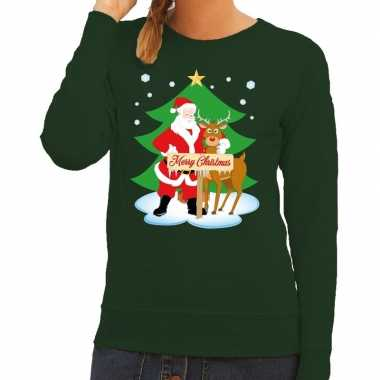 28a91fceb941df Foute kersttrui groen met de kerstman en rudolf voor dames kopen
