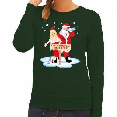 Trui Kopen Vrouw.Foute Kersttrui Groen Met Een Dronken Kerstman En Zijn Vrouw Voor