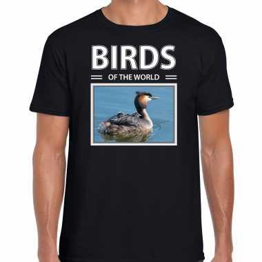 Fuut foto t-shirt zwart voor heren - birds of the world cadeau shirt futen liefhebber kopen