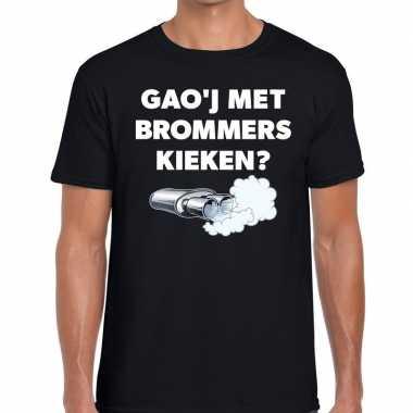 Gaoj met brommers kieken zwarte cross achterhoek t-shirt zwart voor h