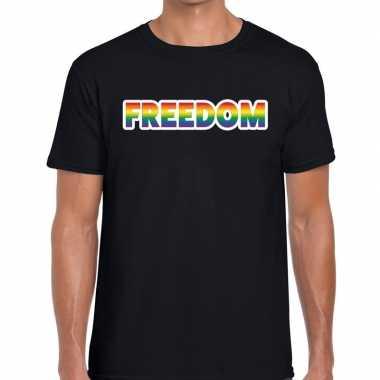 Gay pride freedom tekst shirt zwart heren kopen