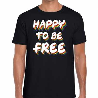 Gay pride happy to be free shirt zwart heren kopen