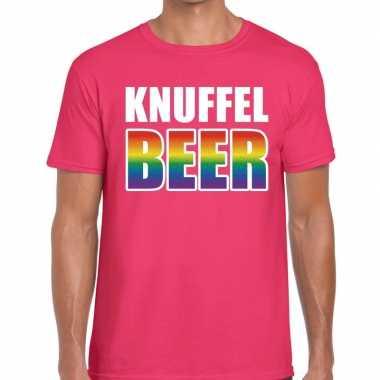 Gay pride knuffel beer shirt roze heren kopen