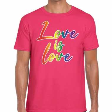 Gay pride love is love shirt roze heren kopen