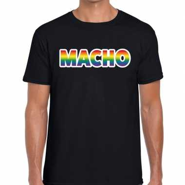 Gay pride macho tekst/fun shirt zwart heren kopen