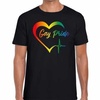 Gay pride peace shirt zwart heren kopen