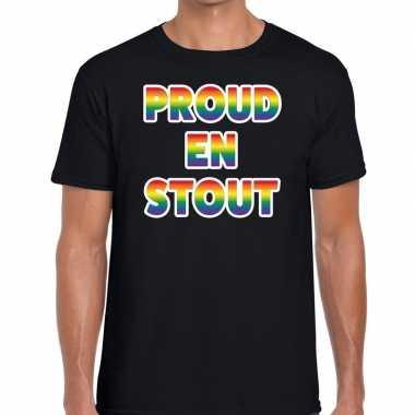 Gay pride proud en stout shirt zwart heren kopen