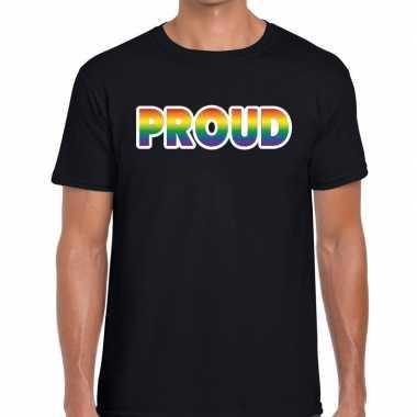 Gay pride proud tekst/fun shirt zwart heren kopen