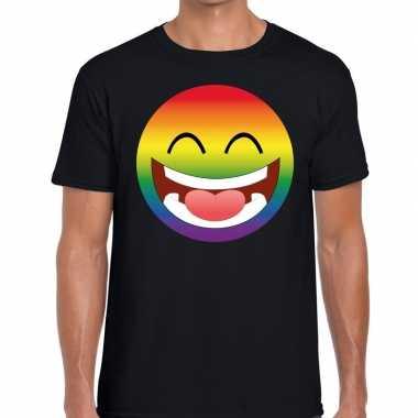 Gay pride regenboog emoticon fshirt zwart heren kopen