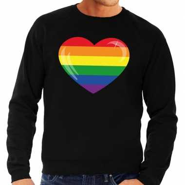 Gay pride regenboog hart sweater zwart heren kopen