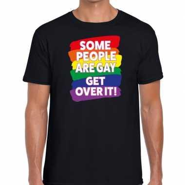 Gay pride some people are gay get over it shirt zwart heren kopen