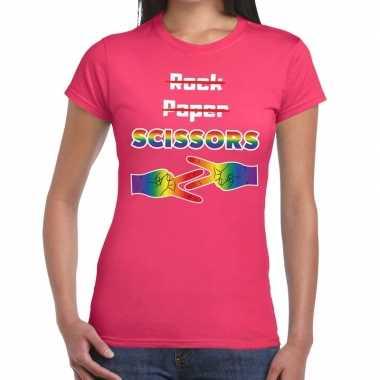 Gaypride rock paper scissors t-shirt roze dames kopen